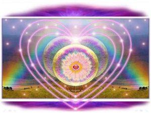 corazones con arco iris blos antorcha luz